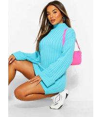 petite oversized geribbelde gebreide trui jurk, turquoise