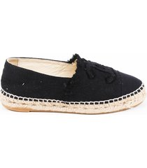 chanel black cc cap toe espadrilles black sz: 4