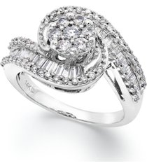 diamond cluster swirl ring in 14k white gold (1 ct. t.w.)