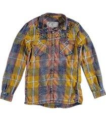garcia stevige zachte flanel achtige blouse met strass studs
