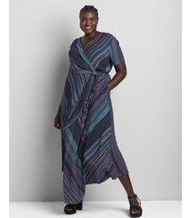 lane bryant women's fit & flare striped hacci dress with asymmetric hem 22/24 blue/pink stripe