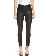 women's l'agence adelaide high waist crop leather jeans, size 25 - black