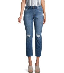 articles of society women's renee distressed high-rise cropped jeans - blue - size 28 (4-6)