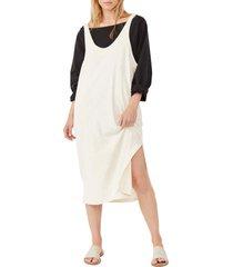 women's free people be happy pinafore dress & top set, size large - black