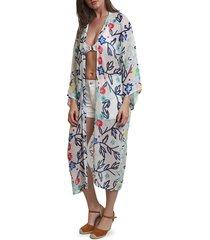 lulla collection by bindya women's floral-print kimono coverup
