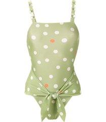 adriana degreas printed high leg swimsuit - green