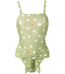 adriana degreas printed high leg swimsuit - green