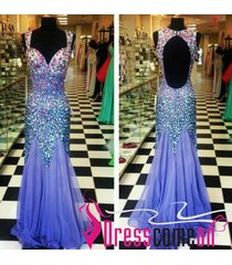 mermaid straps lavender beaded crystals backless prom/evening/party dresses ba60