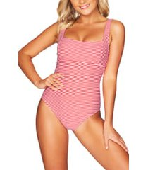 women's sea level stripe underwire one-piece swimsuit, size 12 us - red