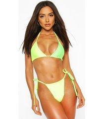 neon contrast tie side triangle bikini, neon-green