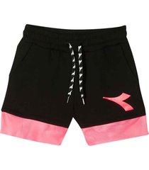 diadora black shorts with pink band