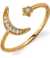 unwritten silver plated gold cubic zirconia star moon wrap around ring