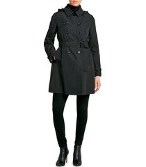 jane post women's downtown double-breasted trench coat - black - size m