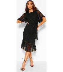 dobby mesh midi jurk met lange mouwen en ceintuur, zwart