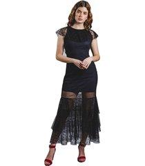 vestido adrissa fiesta negro largo con escote en espalda e interior azul oscuro