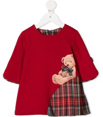 lapin house teddy bear print check dress - red