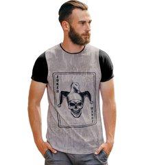 camiseta carta baralho skull joker t shirt manga curta
