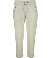 brunello cucinelli cotton and silk lightweight trousers with monili