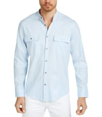 alfani men's banded collar shirt, created for macy's