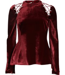 velvet tie shoulder top
