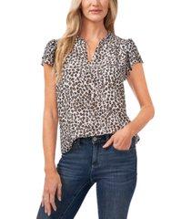 cece flutter-sleeve leopard-print blouse