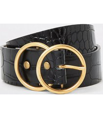 river island womens black croc embossed gold double ring belt