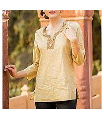 cotton tunic, 'golden blossoms' (india)