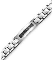 men's black diamond id bracelet in stainless steel (3/8 ct. t.w.)