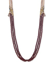 """lonna & lilly rose gold-tone crystal leaf charm beaded 36"""" triple-row strand necklace"""