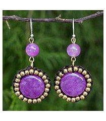 quartz dangle earrings, 'summer garden path' (thailand)