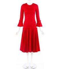 khaite mariella red cotton poplin pleated dress red sz: s