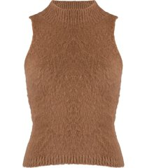 versace fluffy knitted top - brown