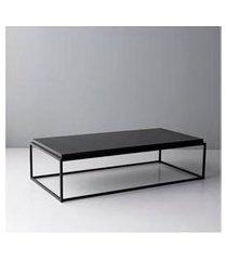 mesa de centro retangular block em couro preto - doimo