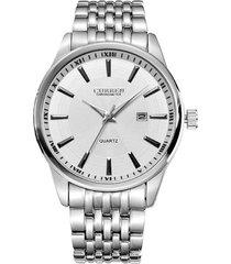 reloj curren 8052 hombres lujo casual cuarzo plateado blanco