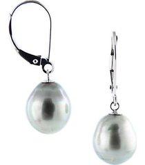 9-10mm black pearl lightweight leverback earrings