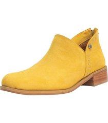 botín cuero constanza amarillo kuss