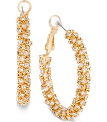 "charter club gold-tone medium crystal pave hoop earrings, 1.4"", created for macy's"