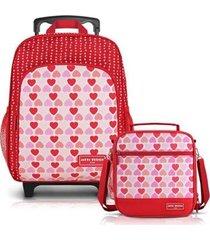 conjunto jacki design mochila com rodinhas & térmica feminina