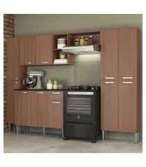 cozinha completa compacta c/ armário e balcáo c/ tampo 4 pçs pequim classic multimóveis carv. avelá