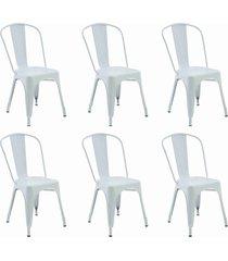 conjunto 06 cadeiras iron branca rivatti