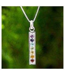 multigemstone chakra pendant necklace, 'chakra honor' (thailand)