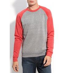 men's alternative 'the champ' trim fit colorblock sweatshirt, size large - red
