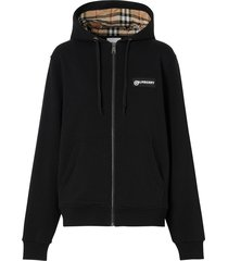 burberry vintage check zipped hoodie - black