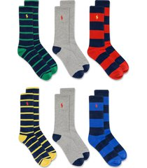 men's polo ralph lauren assorted 6-pack stripe crew socks, size one size - blue