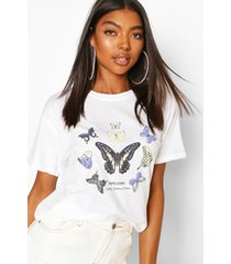 lang butterfly slogan t-shirt, wit