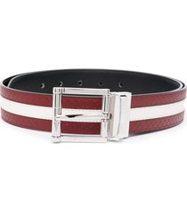 bally taylan striped leather belt - red