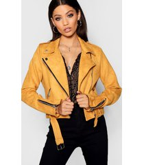 premium faux suede biker jacket, mustard