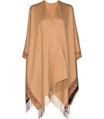 alexander mcqueen selvedge fringed wool cape - brown