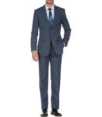 english laundry men's slim-fit windowpane wool suit - blue - size 40 s