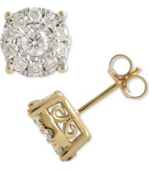 diamond halo stud earrings (1 ct. t.w.) in 14k gold, white gold or rose gold